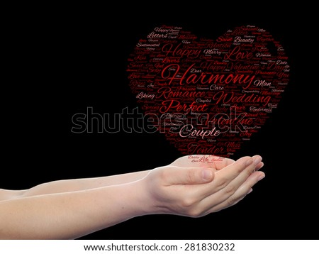 Conceptual red love, Valentine`s Day wordcloud text in shape of heart symbol held in hands on black background metaphor to love romance passion romantic emotion marriage valentine desire or affection - stock photo