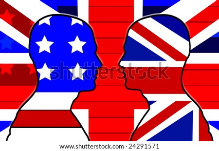 Conceptual representing  American and the UK.