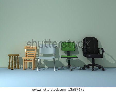 Conceptual scene - five different chair representing progress and success - rendered in 3d