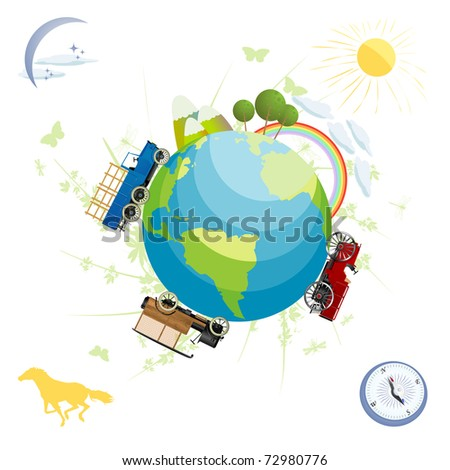 Conceptual scenery with green planet and transportation elements, isolated and grouped objects over white background