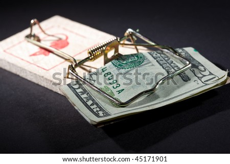 conceptual series: two money trap with dollar banknotes