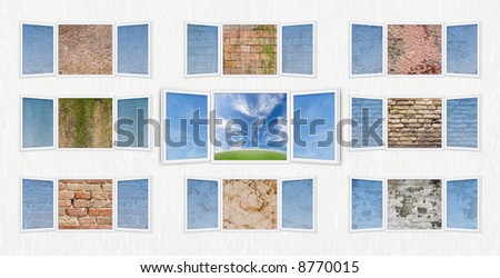 Conceptual shot of freedom and dreaming with the central window open on a beautiful landscape and the surrounding windows close to different dirty walls (textures). - stock photo