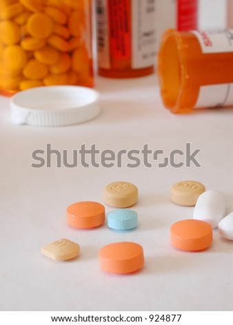 conceptual shot of too much medication or addiction - stock photo