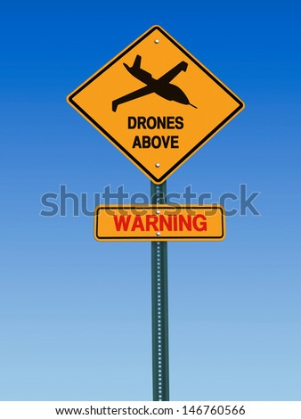 conceptual sign with drone symbol and danger warning over blue sky - stock photo