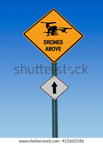 conceptual sign with drone symbol and  warning above over blue sky - stock photo