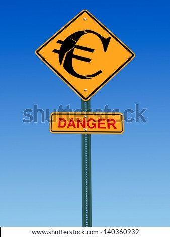 conceptual sign with euro symbol and danger warning over blue sky - stock photo