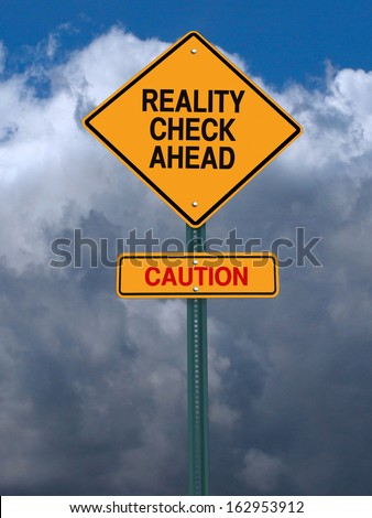 conceptual sign with words reality check ahead caution warning over dark blue sky - stock photo