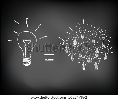 Conceptual sparking idea on black chalkboard with incandescent light bulbs - stock photo