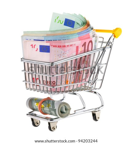 Conceptual studio shot of a bunch of euro banknotes filling a shopping cart on white background