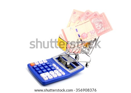 Conceptual studio shot of a bunch of Malaysian banknotes filling a shopping cart on white background - stock photo