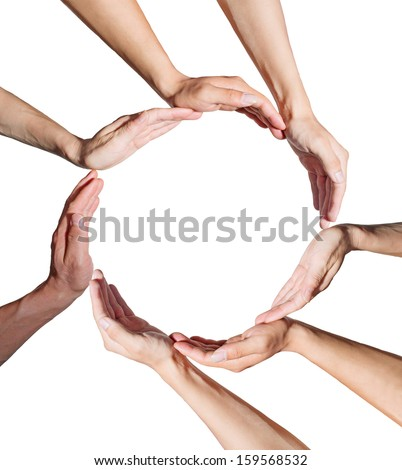 Conceptual symbol of  human hands making a circle on white background with a copy space in the middle - stock photo