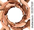Conceptual symbol of multiracial human hands making a circle on white background with a copy space in the middle - stock