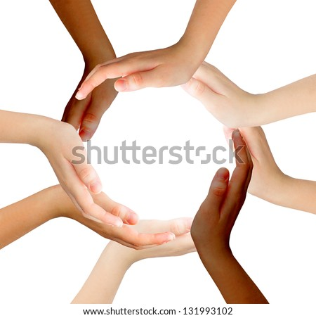 Conceptual symbol of multiracial human hands making a circle on white background with a copy space in the middle - stock photo