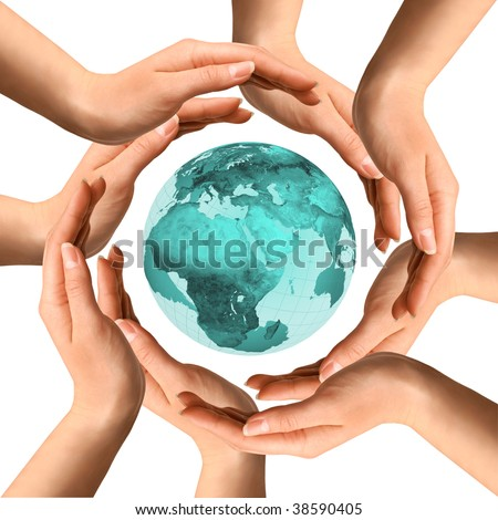 Conceptual symbol of the planet Earth surrounded by human hands. Environment and ecology concept. - stock photo