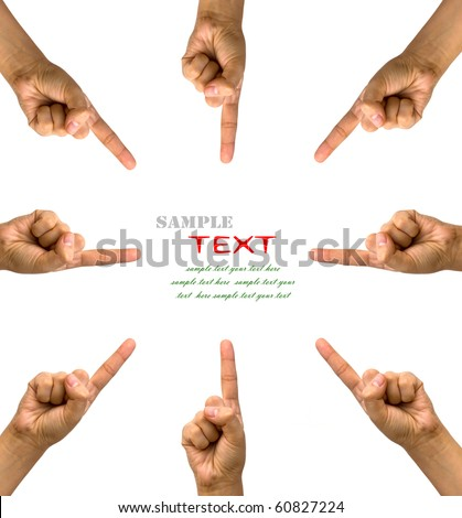 Conceptual symbol of woman hand pointing on white background with a space in the middle - stock photo