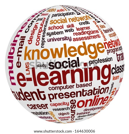Conceptual tag cloud containing words related to distance learning, knowledge, distance education and e-learning.  - stock photo