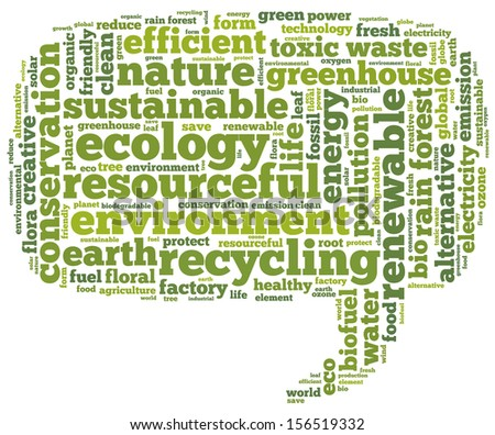 Conceptual tag cloud containing words related to ecology, environment, pollution, renewable resources, recycling, conservation, efficiency in the form of a callout on white background - stock photo