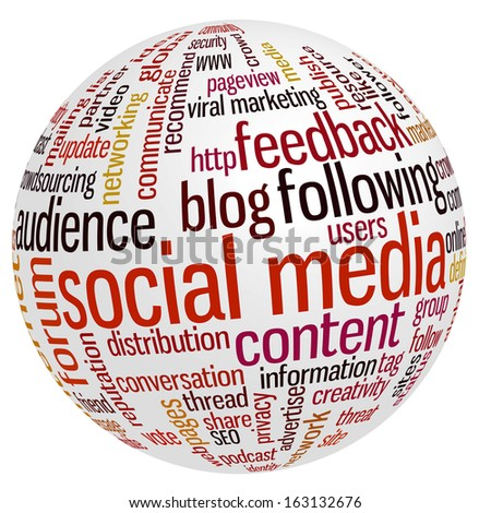 Conceptual tag cloud containing words related to social media, marketing, blogs, social networks and Internet. - stock photo