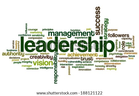 Conceptual tag cloud containing words related to strategy, leadership, business, innovation, success, motivation, vision, mission and teamwork. - stock photo