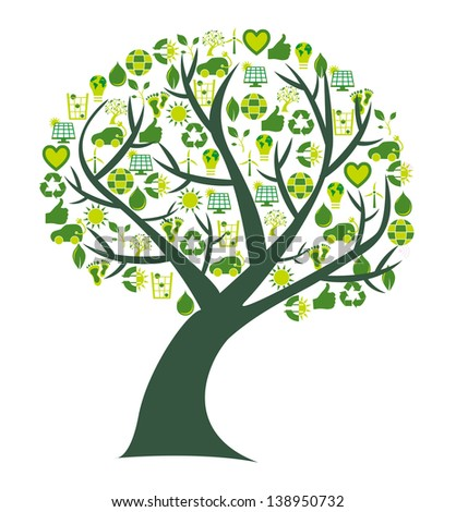 Conceptual tree where the leafs are replaced by bio, eco and environmental symbols and icons - stock photo