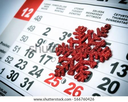 Conceptual view of the calendar in December. - stock photo