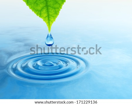 Conceptual water or dew drop falling from a green fresh leaf on a blue clear water making waves - stock photo