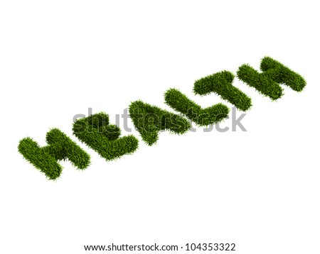 conceptual word health covered grass