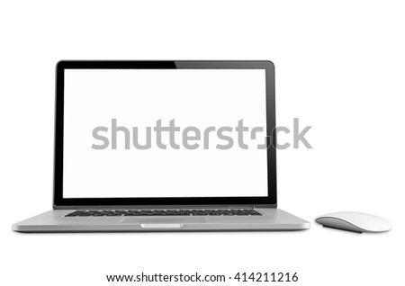 Conceptual workspace, Laptop and mouse isolated blank screen with clipping path. - stock photo