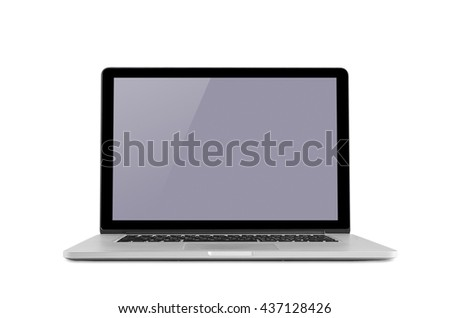 Conceptual workspace, Laptop isolated blank screen with clipping path. - stock photo