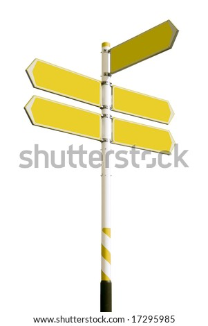 Conceptual yellow roadsign with empty direction arrows for business solutions or locations, isolated on white background (with clipping path) - stock photo