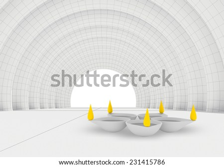 conceptually happy diwali diya illuminated only flames in color - stock photo