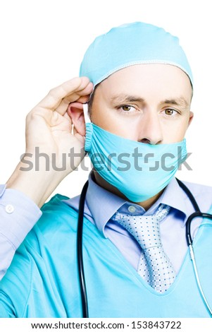 Concerned Doctor Listening To Patient Concerns With Hand To Ear In A We Hear You, Health Care Concept Isolated On White Background - stock photo