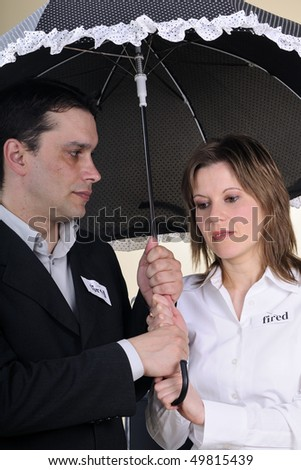 concerned man for his fired wife - stock photo