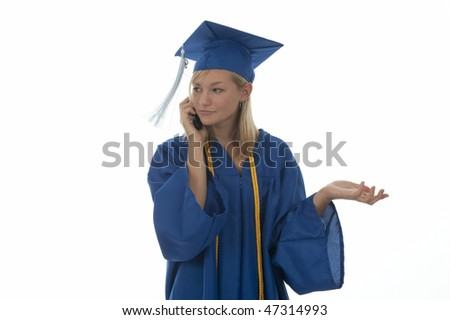 Concerned pretty girl graduate in gown talking on mobile phone