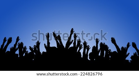 Concert Crowd Silhouette on blue sky  background. - stock photo