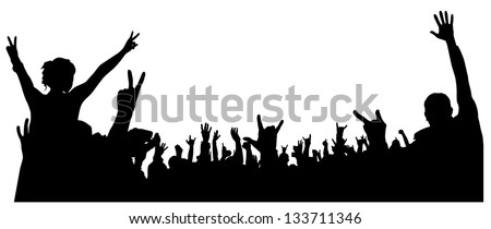 Concert Crowd Silhouette on white background. Raster version with clipping path