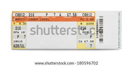 Concert Event Ticket Isolated on White Background. - stock photo