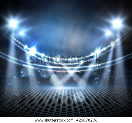 concert light show, Stage lights.  digital effect, - stock photo