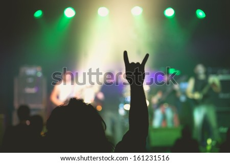 Concert Live Indoors in a Small Club - stock photo