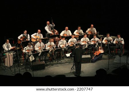 Concert of Croatian radio and television tamburitza orchestra in Kerempuh 30.10.2006 - stock photo