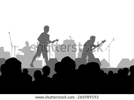 Concert of rock band on a white background - stock photo
