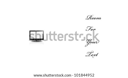 Concetual Minimal Flat Panel In Large White Space - stock photo