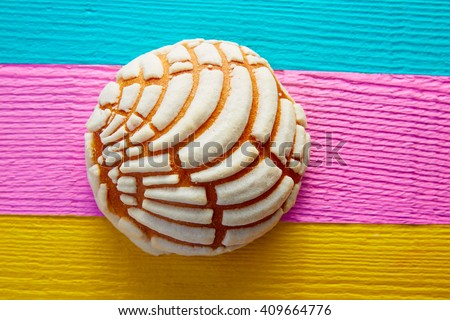 Conchas Mexican sweet bread traditional bakery from Mexico - stock photo