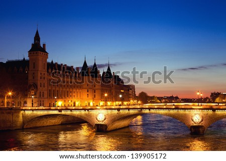 Conciergerie by night, Paris view, France