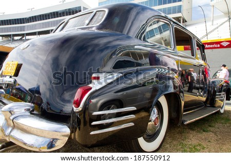 CONCORD, NC -- APRIL 05, 2014:  A 1942 Cadillac Fleetwood automobile on display at the Charlotte AutoFair classic car show held at Charlotte Motor Speedway.