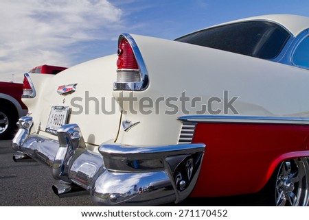 CONCORD, NC -- APRIL 11, 2015:  A 1955 Chevy Bel Air automobile on display at the Charlotte AutoFair classic car show held at Charlotte Motor Speedway. - stock photo