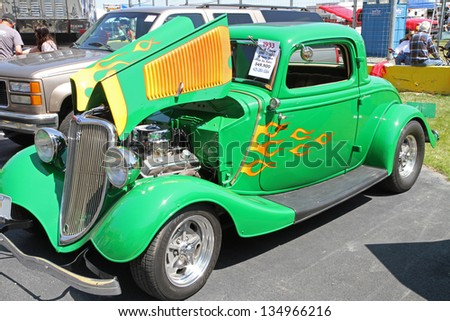 CONCORD, NC - APRIL 6:  A 1933 Ford hot rod automobile on display at the Food Lion Auto Fair classic car show at Charlotte Motor Speedway in Concord, NC, April 6, 2013.