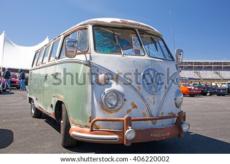 CONCORD, NC - APRIL 8, 2016:  A 1966 Volkswagon bus on display at the Pennzoil AutoFair classic car show held at Charlotte Motor Speedway.