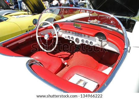 CONCORD, NC - APRIL 6:  Interior of a 1954 Chevrolet Corvette automobile on display at the Food Lion Auto Fair classic car show at Charlotte Motor Speedway in Concord, NC, April 6, 2013.