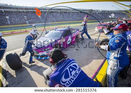 Concord, NC - Dec 31, 2015:  Trevor Bayne (6) brings his race car in for service during the Coca-Cola 600 race at the Charlotte Motor Speedway in Concord, NC. - stock photo